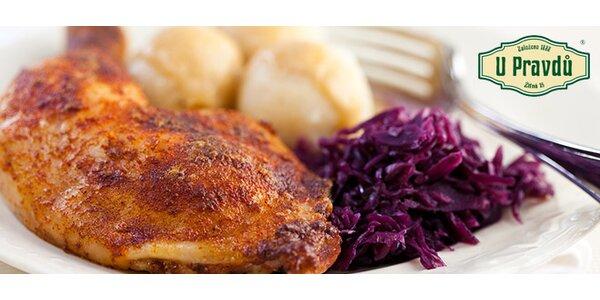 Kuřecí stehna à la kachna, zelí, knedlík (1000 g)