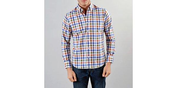 Pánská modro-červeno-okrová košile Marcel Massimo