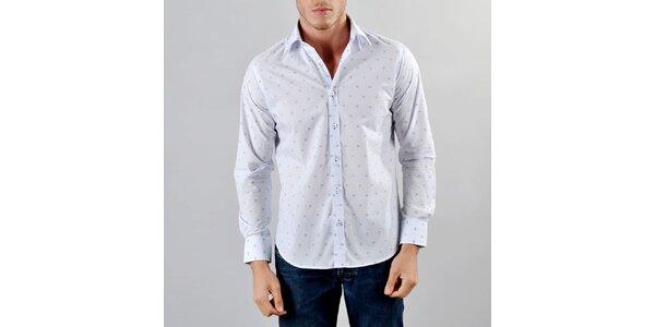 Pánská bílá košile s modrými kostičkami Marcel Massimo