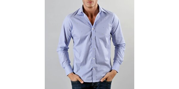 Pánská modrá kostkovaná košile Marcel Massimo