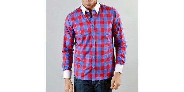 Pánské modrá červeně károvaná košile Marcel Massimo