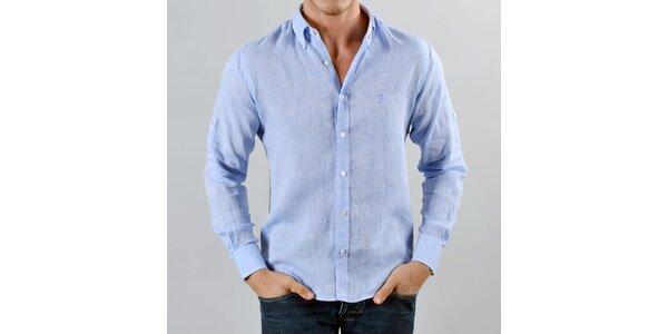 Pánská lněná blankytně modrá košile Marcel Massimo