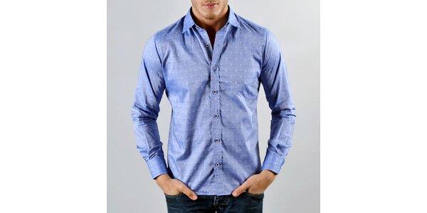 Pánská modrá košile se vzorečkem Marcel Massimo