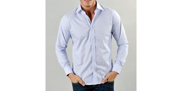 Pánská světle modrá košile s jemnými proužky Marcel Massimo
