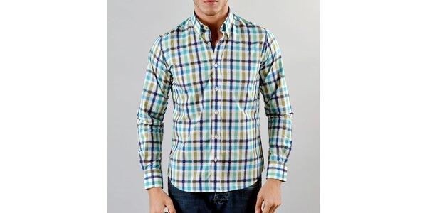 Pánská modro-okrová károvaná košile Marcel Massimo