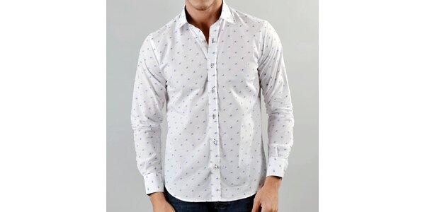 Pánská bílá košile Marcel Massimo s modrým vzorkem