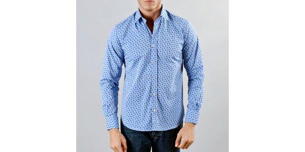Pánská modrá košile s tmavě modrým vzorkem Marcel Massimo