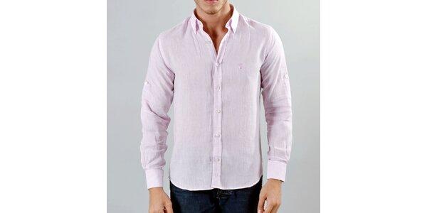 Pánská růžová lněná košile Marcel Massimo