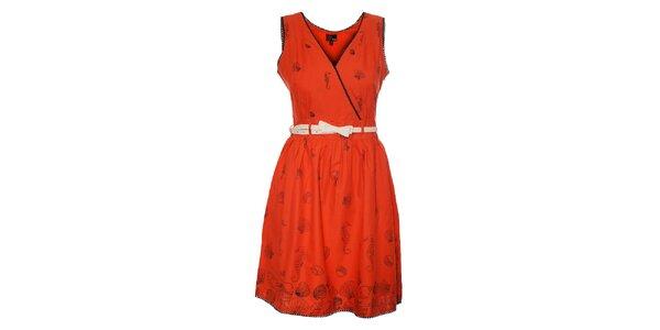 Dámské korálově růžové šaty Yumi s černým potiskem