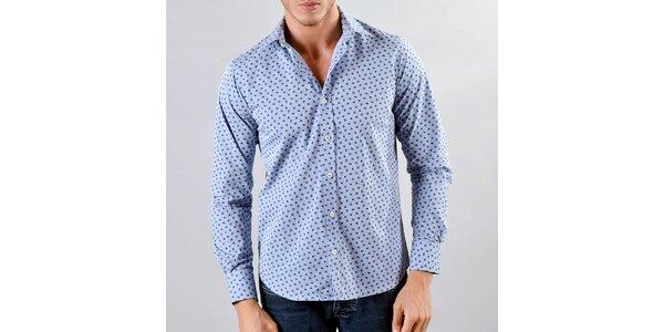 Pánská modrá košile s jemným tmavým vzorem Marcel Massimo