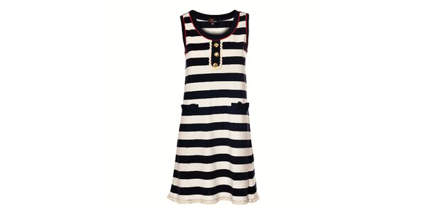 Dámské námořnické šaty Yumi se širokým tmavě modrým proužkem