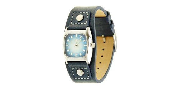 Dámské nebesky modré analogové hodinky s koženým řemínkem Tom Tailor