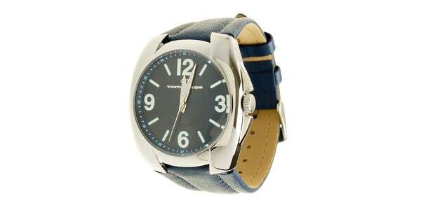 Signálně modré analogové hodinky s koženým řemínkem Tom Tailor