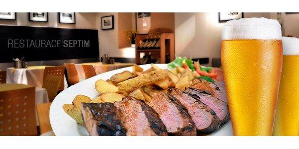 399 Kč za DVA hovězí bifteky filet mignon s přílohou a DVĚMA plzněmi!