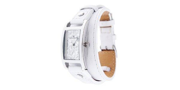 Dámské náramkové hodinky Tom Tailor s bílým koženým řemínkem