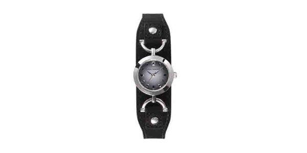 Dámské náramkové hodinky Tom Tailor s černým koženým řemínkem