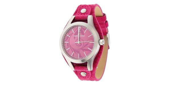 Dámské ocelové hodinky Tom Tailor s červeným koženým řemínkem