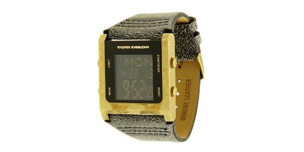 Pánské šedo-zlaté hodinky s digitálním ciferníkem Tom Tailor