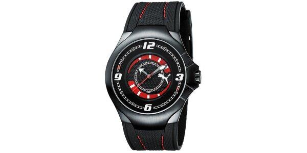 Pánské černé analogové hodinky s červenými detaily Puma