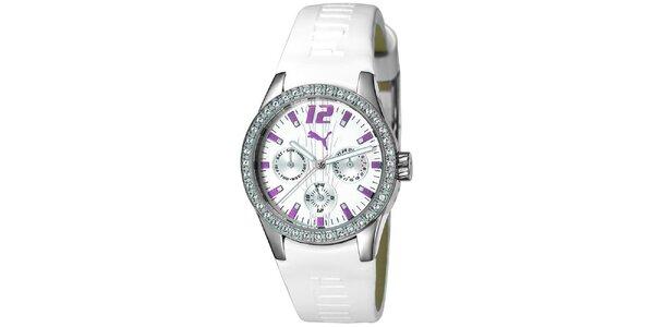 Dámské bílé analogové hodinky s fialovými detaily Puma