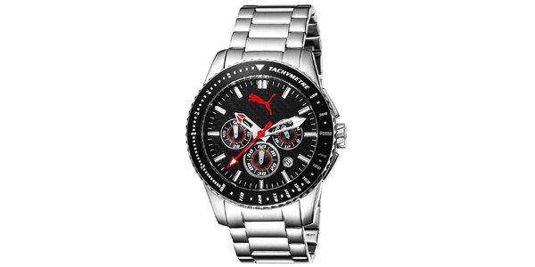 Pánské hodinky se stříbrným řemínkem a tachymetrem Puma