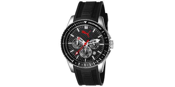 Pánské hodinky s černým řemínkem a tachymetrem Puma