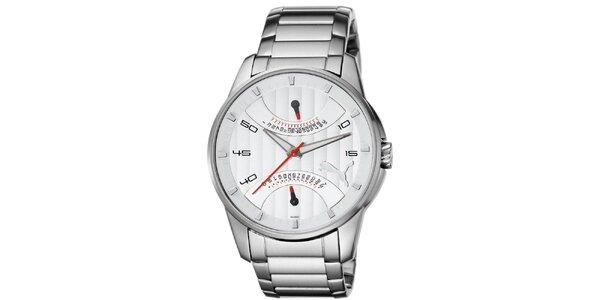 Pánské stříbrné hodinky s červenými detaily Puma