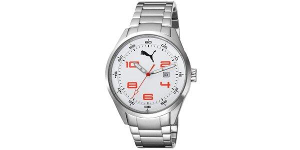 Pánské stříbrné hodinky s červenými číslicemi Puma