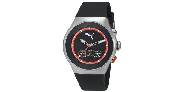 Pánské stříbrné hodinky s černým ciferníkem a chrnografem Puma