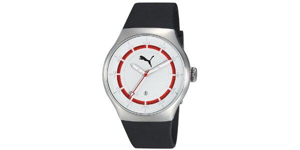 Pánské stříbrné hodinky s červeným proužkem Puma
