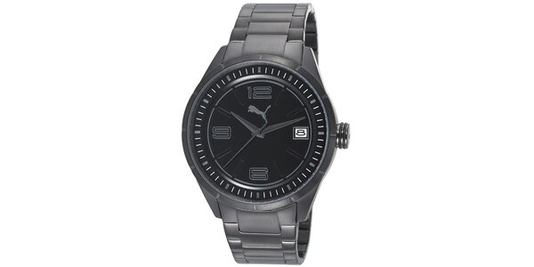 Pánské černé ocelové hodinky Puma