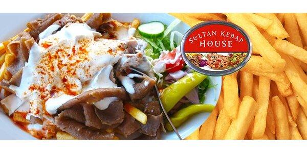 64 Kč za talíř Döner kebab s hranolkami v podniku Sultan Kebap.