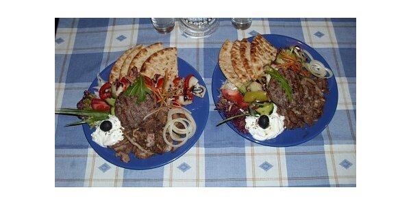 260 Kč za 2x řecký talíř 300g, gyros, suvlaki, biftek, pita, tzatziki