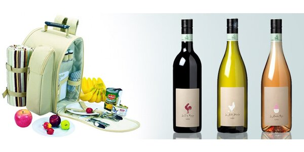 699 Kč za piknikový batoh plus 1 láhev francouzského vína dle výběru!