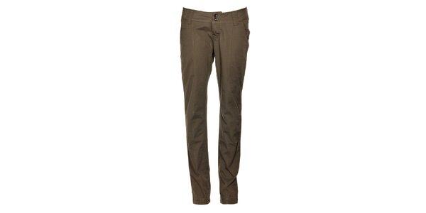 Dámské hnědozelené plátěné kalhoty Timeout s puky
