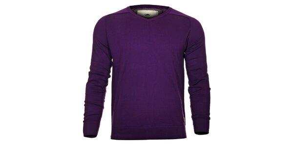 Pánský fialový svetr Timeout s výstřihem do véčka