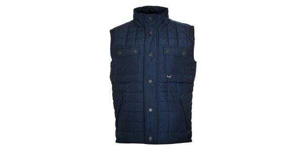 Pánská tmavě modrá prošívaná vesta Timeout