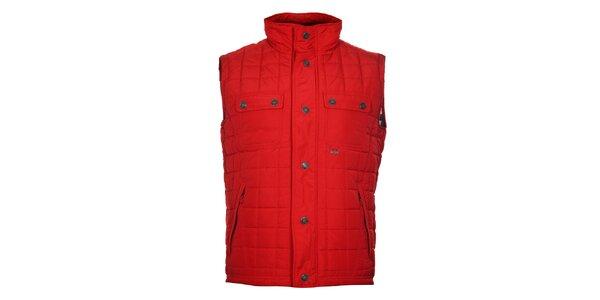 Pánská rudě červená prošívaná vesta Timeout