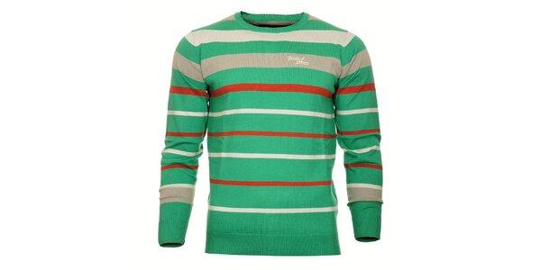 Pánský trávově zelený svetr Timeout s červeným a šedým proužkem