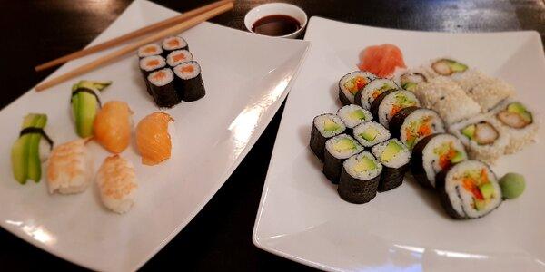Až 38 kousků sushi s rybou nebo bez masa