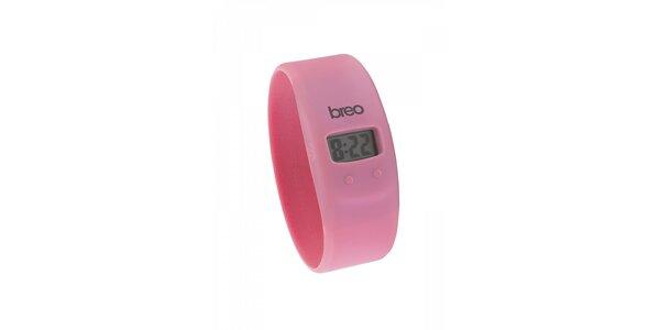 Růžové silikonové hodinky Breo Skin