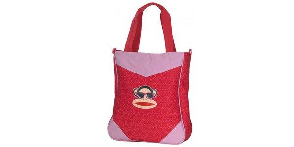 Dámská červená taška přes rameno Paul Frank s veselým potiskem