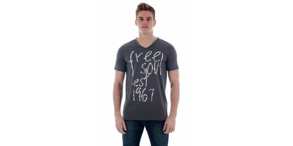 Pánské tmavě šedé tričko Freesoul se stříbrnými nýtky
