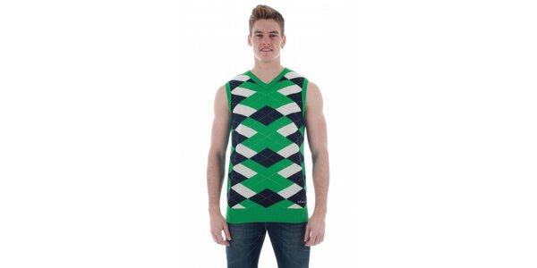 Pánská světle zelená károvaná vesta Freesoul