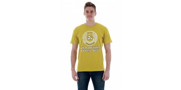 Pánské hořčicové tričko Freesoul s potiskem