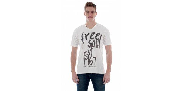Pánské bílé tričko Freesoul s černým potiskem