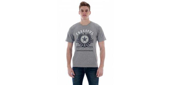 Pánské světle šedé tričko Freesoul s potiskem