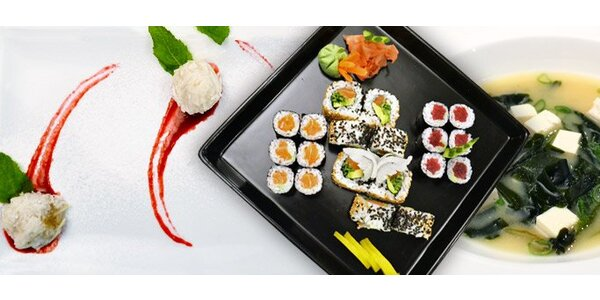 349 Kč za japonský sushi set, polévku i dezert pro dva!