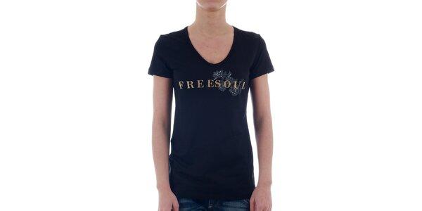 Dámské černé tričko Freesoul se zlatým potiskem a kamínky