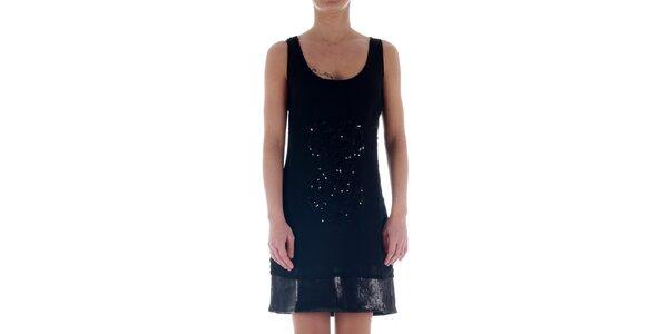 Dámské černé dvouvrstvé šaty Freesoul se třpytivými flitry